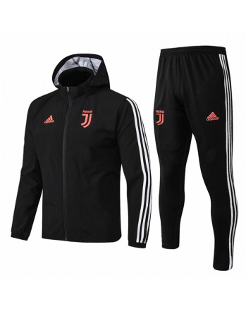 Juventus Black Hoodie Training Tracksuit 2019-20