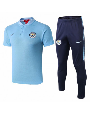 Manchester City Blue Training Polo Suit 2019-20