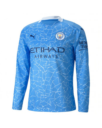 Manchester City Home Long Sleeve Soccer Jersey 2020-21