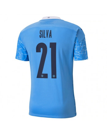 Manchester City Home SILVA Soccer Jersey 2020-21